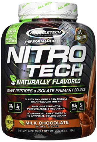MuscleTech NitroTech Protein Powder Plus Muscle Builder, 100% Whey Protein with Whey Isolate, Natural Milk Chocolate, 4 Pounds (41 Servings)
