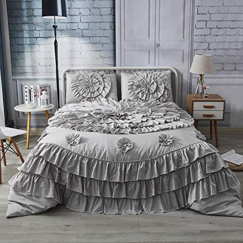 Softta Vintage King 106 x 92 inches Luxury Boho Bedding Set Modern Grey 3Pcs Duvet Cover Set Reversible Zipper Closure Flower Lace Ruffle Patchwork 100% Cotton Bedding Collections