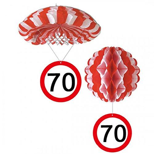 Udo Schmidt verjaardag hangdecoratie ballon en parachutefeest 70 jaar