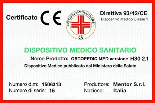 Mentor - Materasso Memory Med Matrimoniale 160x190 Ortopedic Med H30 2.1 DISP. Medico DETRAIBILE H30, 4 cm di Memory - 11 Zone- DETRAIBILE