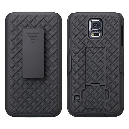 Galaxy S5 Case, Swivel Slim Belt Clip Holster Protective Case, Kickstand Defender Cover Compatible for Samsung Galaxy S5 Phone Case with Clip (Combo Shell & Holster Case) - Black