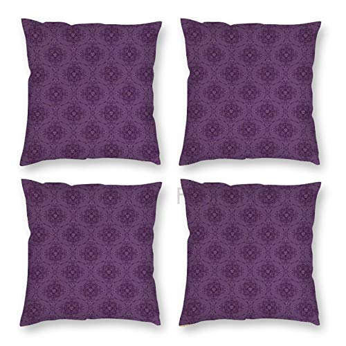 Pillow Covers 18 x 18 Inch Set of 4, Monochrome Boho Illustration Oriental Ornaments Continuous Repetition, Pale Eggplant Plum Decorative Throw Pillow Case Cushion Cover for Sofa Couch Sofa Home