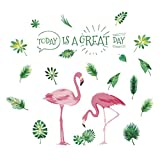 VORCOOL Pink Flamingos Plantas Verdes Hojas Estilo Pastoral Pegatinas de Pared Vinilo Removible Arte Tatuajes de Pared para el Dormitorio Sala de Estar Sala de Guardería Dormitorio de los Niños