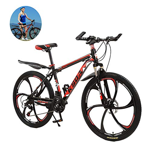 【US in Stock】 Mountain Bike,26 in Mountain Bike Multiple Aluminum Racing Outdoor Cycling Disc Brake Bicycle Suspension Bike(26'', 21 Speed)