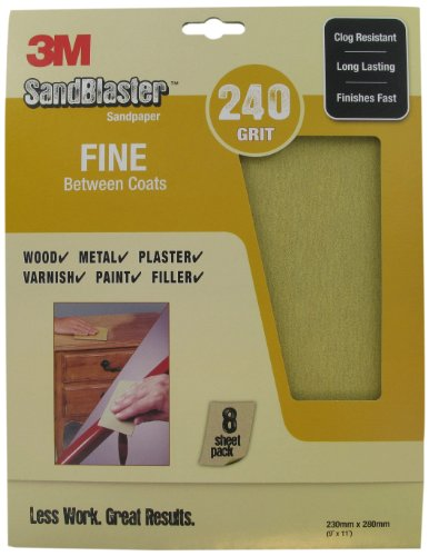 SandBlaster 3M 28240 Lot de 8 feuilles de papier de verre Grain fin P240 230 x 280 mm