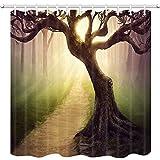 remmber me Fantasie Dekor Duschvorhang Zauberwald Baum Bad Vorhang Duschvorhang Wasserdicht Bad Dekor Polyester Stoff Vorhang Sets mit Haken 60x72 Zoll
