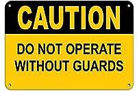 注意警備員なしで操作しないでください錫看板壁の装飾金属ポスターレトロプラーク警告看板オフィスカフェクラブバーの工芸品