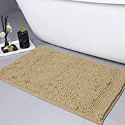 LINLA Non-Slip Soft Microfibers Chenille Bathroom Rug Mat, Machine Washable and Absorbent Fast Dry Kitchen Rugs,Thick Modern Plush Carpet for Tub,Shower and Door Bath Room(32x20 inches, Beige