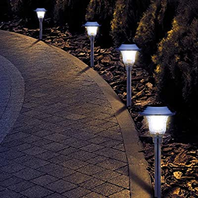 Morvat LED Solar Lights Outdoor, Landscape Lighting Solar Garden Lights, Garden Décor Outdoor Lighting,   Stainless Steel Body with Glass Lens, Waterproof, White Light, Pack of 8