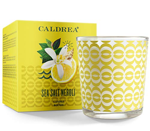 Caldrea Scented Candle, Made with Essential Oils and Other Thoughtfully Chosen Ingredients, 45 Hour Burn Time, Sea Salt Neroli Scent, 8.1 oz (Packaging May Vary)