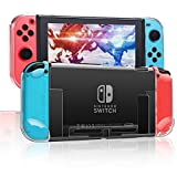 RHOTALL 3 in 1 Protective Clear Case Cover for Nintendo Switch, Dockable Case for Nintendo Switch and Joy Con Controller with Clear Grip Cover Shock-Absorption and Anti-Scratch Design