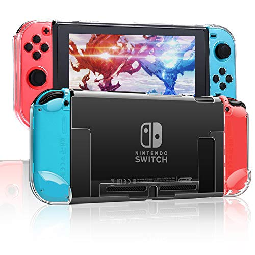 RHOTALL 3 in 1 Protective Clear Case Cover for Nintendo Switch, Dockable Case for Nintendo Switch and Joy-Con Controller with Clear Grip Cover Shock-Absorption and Anti-Scratch Design