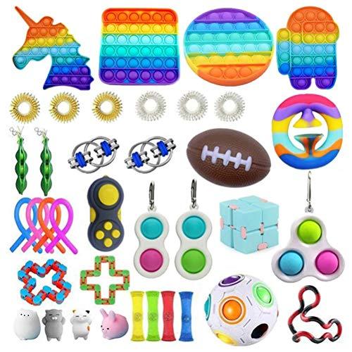 37 Piezas Fidget Toy Packs, Set De Juguetes Sensoriales Fidget Baratos con Simple Dimple Pop...