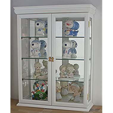 DisplayGifts Solid Wood Tuscan Style Wall Curio Cabinet, Stand or Wall Mount, 19.75  W X 26  H X 7  D, WHITE