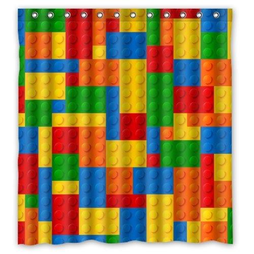 CHATAE Modisch Lego Blöcke Custom Polyester Wasserdicht Bad Duschvorhang Ringe enthalten 167,6x 182,9cm