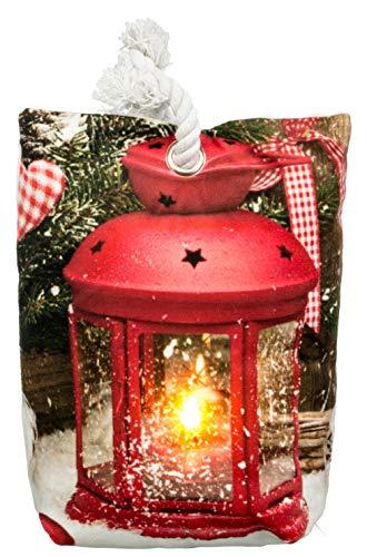 Brandseller Kerstmis deurstopper LED verlichte timer decoratiezakje 20x15 cm 20x15 cm lantaarn/rood.