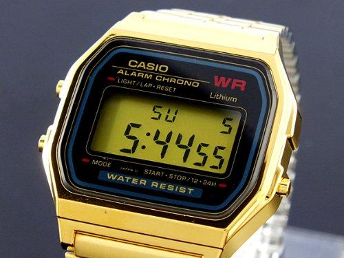 Casio A159WGEA-1 - Reloj (Reloj de pulsera, Oro, Metal, Oro, Plaza, Negro)