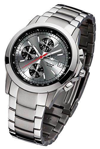 FIREFOX Shooter FFS07-109 Sunray grau Chronograph Herrenuhr Armbanduhr Sicherheits- Faltschließe 10 ATM Water Resistant