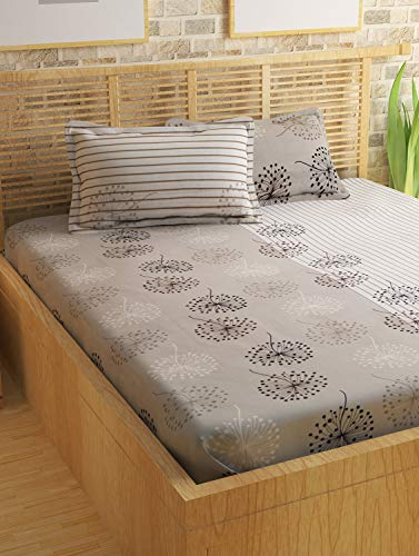Story@Home Metro Series 186 TC Cotton Double Bedsheet with 2 Pillow Covers, Mercerized Finish - Floral, Queen Size, Grey