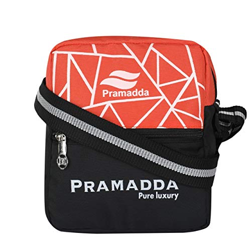 PRAMADDA Pure Luxury Orange Stylish Sling Messenger Bag Street Style Cross Body Travel Shoulder Sling for Men and Women Mini Side Bags Daily Use for Boys and Girls Small Bag for Mobile Wallet.
