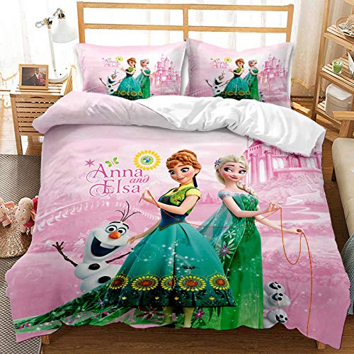 YZHY Disney Frozen Single Double King Duvet Cover for Girls,Anna Elsa & Olaf Print Toddler Bedding Set with Zipper,for Kids Adults Birthday Gift (M,135X200)