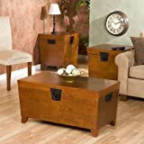 FurnitureMaxx Pyramid Trunk Table Collection, 1 Coffee Table, 2 End Tables Set, Oak