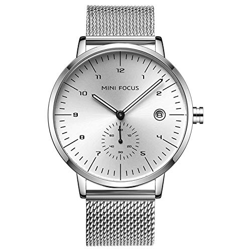 QZPM Hombre De Ultrafino Impermeable Acero Inoxidable Malla Reloj Moda Simple Multifunción Calendario Negocios Analógico Cuarzo Relojes,Plata