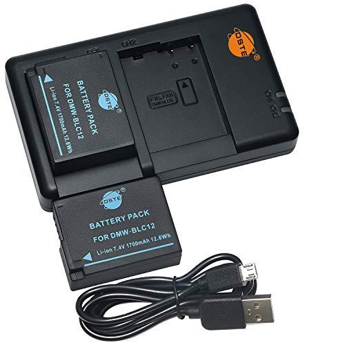 DSTE 2PCS DMW-BLC12(1700mAh/7.4V) Batería Cargador Compatible para Panasonic Lumix DMC-G7,DMC-GH2,DMC-FZ330,DMC-FZ200,DMC-FZ200GK,DMC-FZ1000,V-LUX4,Leica Q Cámara...