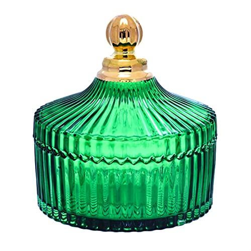 Tarros de Cocina Tarro de cristal de rayas verdes vintage con tapa...