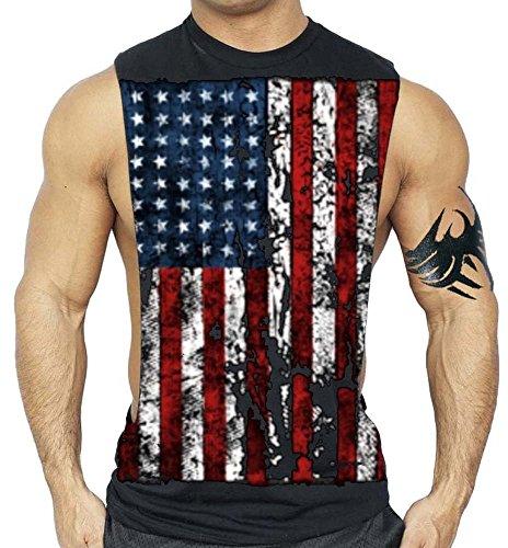 Interstate Apparel Inc American Flag Muscle Workout T-Shirt Bodybuilding Tank Top XS-3XL (M, Black)