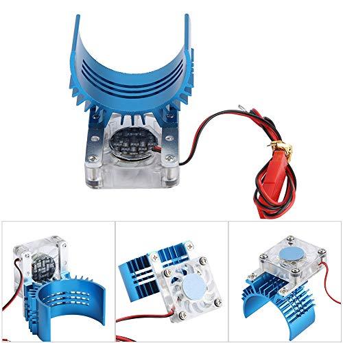 Cocoarm motorkoellichaam elektrische motor motorkoeler koellichaam met 3V Cooling Fan voor 1/8 en 1/10 RC modelauto 540 motor 36 mm motor, blauw