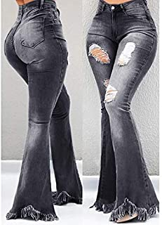 Niceday Pantalones de Cintura Alta Mujeres Pantalones Vaqueros de Pierna Ancha Atractiva Ocasional sólida Denim Jeans Flac...