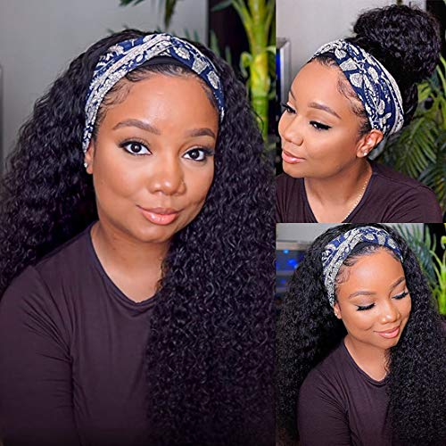 Persephone Glueless Headband Wig Curly Human Hair Wigs for Black Women Deep Wave None Lace Front Wigs Natural Color Machine Made Wigs 150% Density 18 Inch