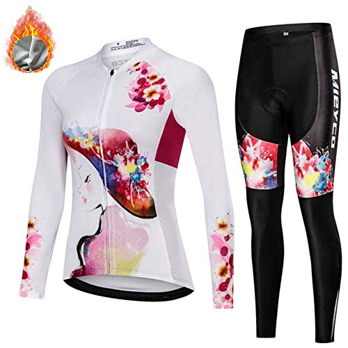 MAFYU fietsshirt heren lange mouwen, dames winter thermo-fleece racefiets fietskleding set