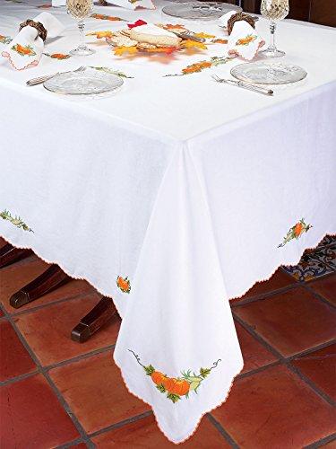 Schweitzer Linen Harvest Tablecloths Tablecloths, White (70' Round)