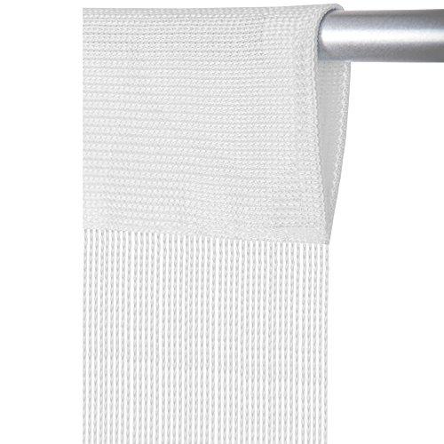 Arsvita Fadenvorhang mit Stangendurchzug, individuell kürzbare Gardine, moderner und eleganter Dekorationsartikel in vielen Farben und Ausführungen (B140xL250 cm/weiß - schneeweiß)