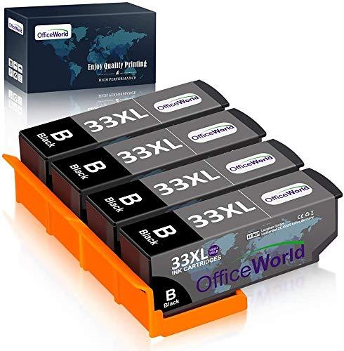 OfficeWorld Epson 33 33XL cartucce d'inchiostro per Epson Expression Premium XP-900 XP-540 XP-7100 XP-830 XP-630 XP-530 XP-640 XP-645 XP-635 4 Nero