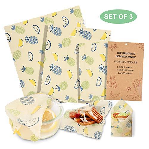 Envoltorio Cera De Abeja, Homegoo Beeswax Wrap Juego de 3 Artículos del Hogar Reutilizable Grado de Comida de Alimentos Envolver Papel Sándwich, Queso y Pan (1 Pequeño / 1 Mediano / 1 Grande)