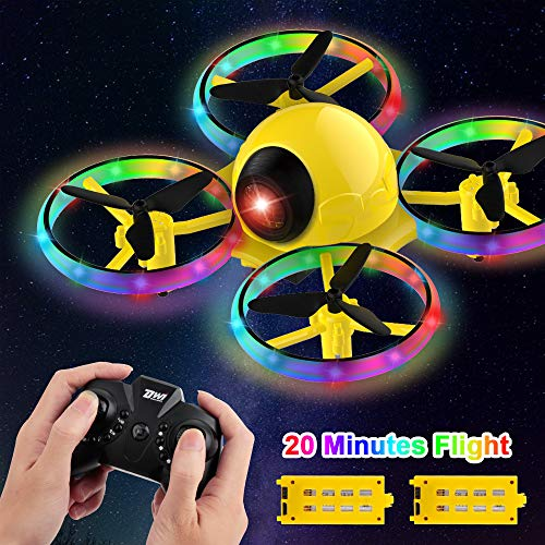 Dwi Dowellin 10 Minutes Long Flight Time Mini Drone for Kids with Blinking Light One Key Take Off Spin Flips Crash Proof RC Nano Quadcopter Toys Drones for Beginners Boys and Girls, Yellow