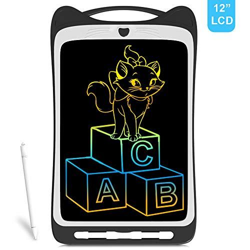 Richgv Tableta de Escritura LCD, 12 Pulgadas Tableta para Escribir y Hacer Bocetos - Mini Pad Tableta de Dibujo para Uso en la Escuela, el Hogar, la Oficina y los Viajes (12 Pulgadas, Negro)