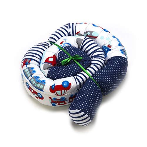 Bettschlange 210 cm PATCHWORK Nestchenschlange für baby Bettrolle 2,10m bettumrandung Babybettschlange