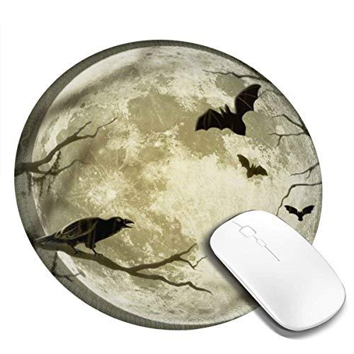 Rundes Mauspad - Rutschfeste Gaming-Mousepad für Krähen und Fledermäuse - Waschbare Gummimausmatte für Computer / Laptop und Konsolen