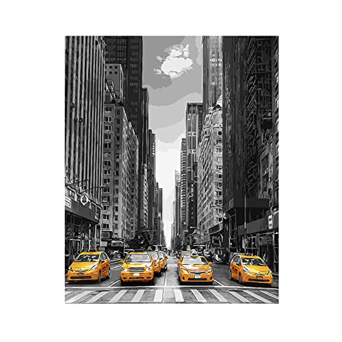 DIY Pintura por Números Adultos Y Niños Pintura New York Street con Pinceles Y Pinturas Lienzo Arte Decoración del Hogar 40 X 50 Cm Sin Marco De