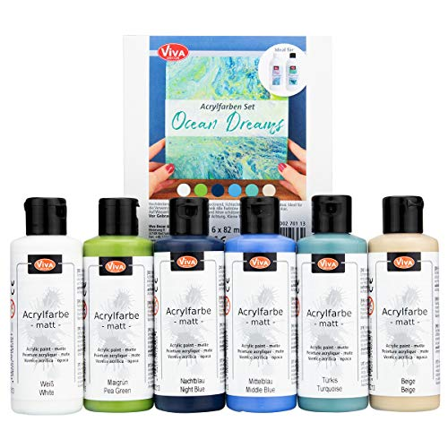 Viva Decor Acrylfarben Set 6tlg. (Set Ocean Dreams) Acryl-Farbe, Künstlerfarbe, Pouring geeignet Keilrahmen-Farbe, Beton-Farbe