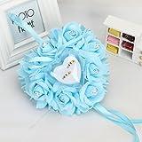 Cuscinetto per Anelli Fatto a Mano, per Matrimonio, Schiuma Rose Amare Cuscino ad Anello, Blue, 15 * 13cm