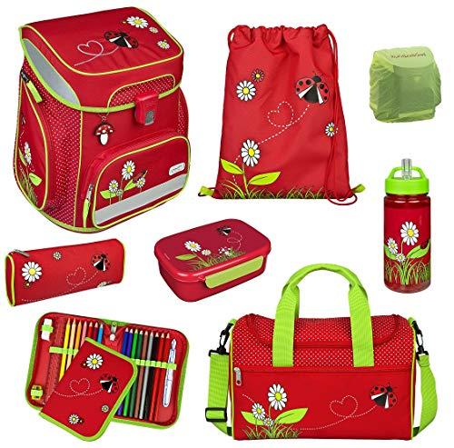 Mädchen Schulranzen-Set 8tlg. Scooli Easy FIT Ranzen 1. Klasse mit Sporttasche Rot JKAE8255 Schultaschen Komplett-Set