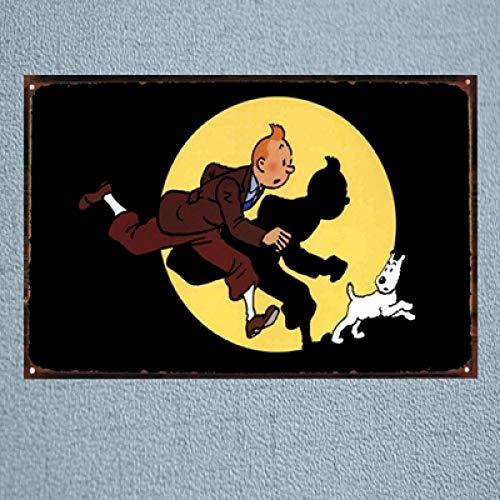 SZLGPJ France Tintin Cartoon Movie Tin Sign Metal Plate Iron Painting Kids Room Wall Bar Home Art Craft Decor 30x20cm 20x30cm DU1049