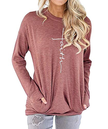 AELSON Women's Casual Faith Printed Round Neck Sweatshirt T-Shirts Tops Blouse with Pocket Light Red