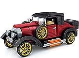 Coche de bloques de construcción de coche antiguo, color rojo, juguete de construcción, 19 cm