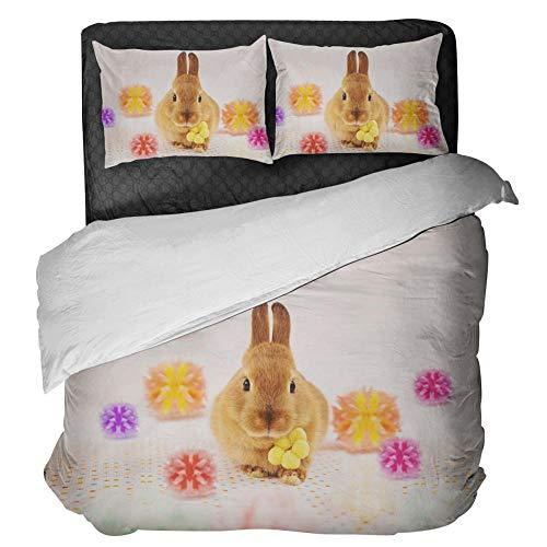 Gzsyb Bed Linen Duvet Set Cover And Pillow Case Microfibre With 1 Quilt Case 2 Pillowcases Case Yellow rabbit 3D Digital Print Three - Piece Bed Linen Double 220x230 cm